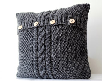 Hand knitted gray  pillow cover - cable hand knit decorative pillows case - handmade home decor  0179