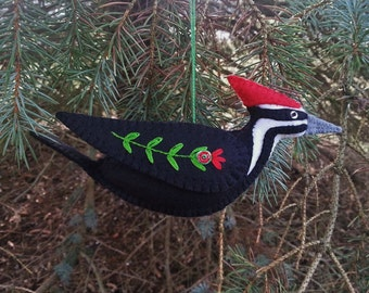 Pileated Woodpecker Ornament, Wool Felt Pileated Woodpecker Ornament, Bird Ornament, Folk Art Woodpecker
