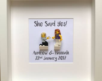 LEGO® Personalised Engagement Gift with Customised Minifigures, Engagement Frame, Gift for the Couple