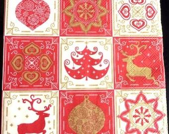 Deer and Christmas tree napkin