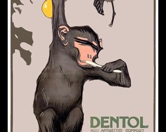 Dentol Monkey Brushing Teeth Refrigerator Magnet