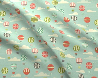 Retro Hot Air Balloon Fabric - Yet Another Hot Air Ballon Print By Katerhees - Nursery Decor Cotton Fabric By The Yard With Spoonflower