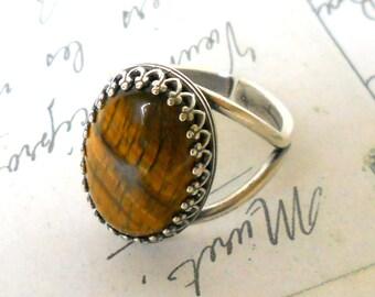 tiger eye ring boho ring silverplated ring stone ring gemstone ring cottage chic adjustable ring tiger eye stone ring