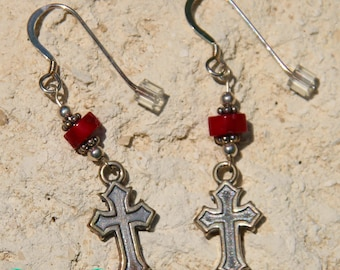 Sterling Silver Cross Christian Charm French Hook Earrings with Heishi Coral Beads and Sterling Silver Accents