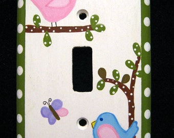 HAYLEY PASTEL #3 - BIRDS, Butterfly - Single Wooden Switch Plate Cover  - Hand Painted