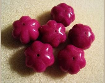 Magenta,  Dark Pink Melon Beads -   Dyed Jade  Rondelle Beads - 17mm x 13mm - Set of 6