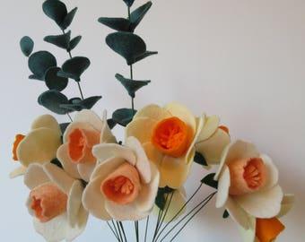 Felt daffodils bouquet - Felt Flower Bouquet - Spring Flowers - Spring Home Decor