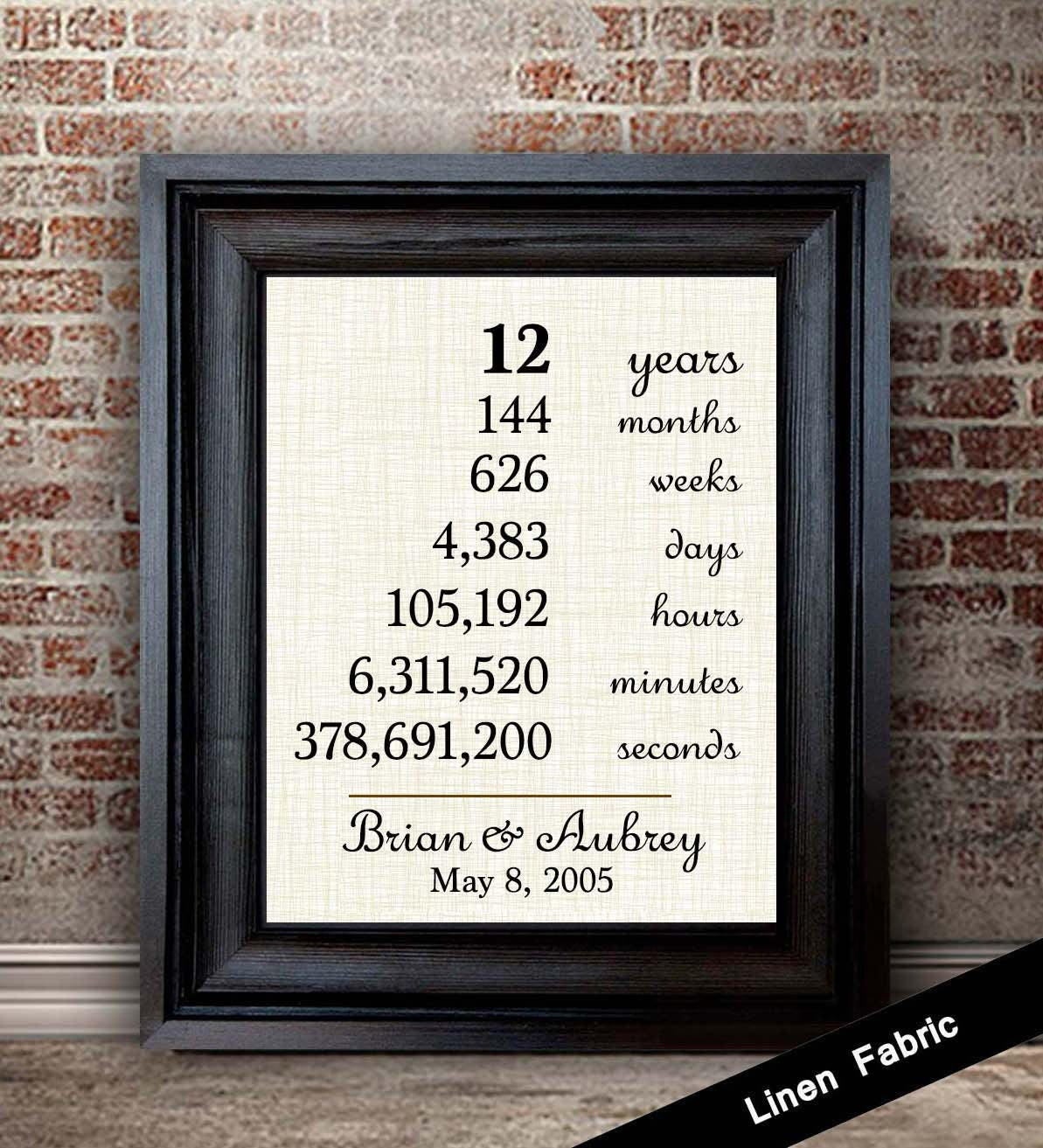 12 Months Of Dates Wedding Gift: 12th Anniversary Gift For Wife 12 Year Anniversary Gift For