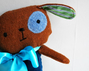 Dog Plushie in Blue Velveteen and Brown Tweed - Plush Stuffed Animal - Upcycled - Rustic - Cuddly Puppy