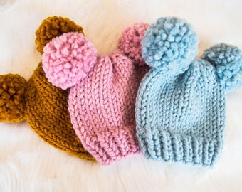 Bear Baby Knit Hat / Child Chunky Beanie / Knit Bear Hat Pom Poms / Toddler Knit Baby Hat / Bear Knit Child Hat