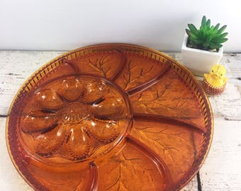 Very Large Amber Cut Glass Egg Plate