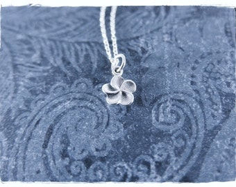 Tiny Plumeria Flower Necklace - Sterling Silver Plumeria Charm on a Delicate Sterling Silver Cable Chain or Charm Only