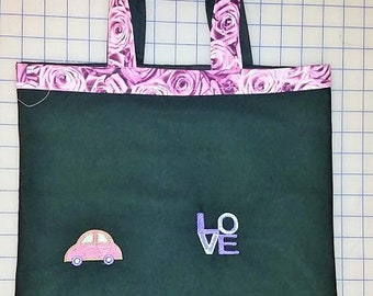 Love Bug Embroidered Tote Bag