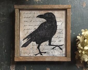Blackbird Print, Silhouette Art, Folk Art, Crow Silhouette, Raven Silhouette, Raven, Bird Art, Rustic Decor, Black and White, Vintage Style