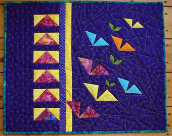 Contemporary Art Quilt Wall Hanging, Triangles, Flying Geese, Bird Quilt, Quiltsy Handmade