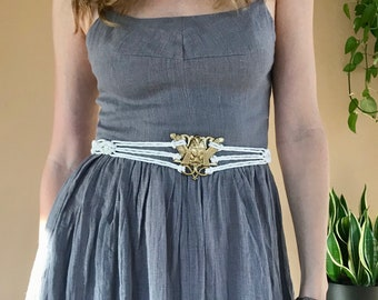 Mystic Macrame Belt - Natural White or Hand Dyed Black Cotton - Brass Sphinx Buckle - Boho Chic, Hippie, Gypsy, Witchy, Festival Fashion