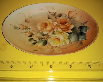 Antique Handpainted signed oval Soap Dish Trinkets Yellow Roses