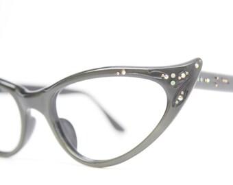Rhinestone Cat Eye Glasses Cateye Eyeglasses NOS Vintage Green