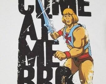"Brand New HE-MAN ""Come At Me Bro"" T-shirt skeletor castle grayskull beastman figure action geico manatee 80's 90's tv cartoons"