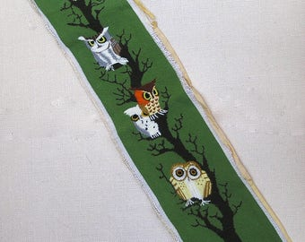 Vintage Owls Needlepoint & Crewel . Erica Wilson Design . Columbia Minerva . 1970s Home Decor . Owl . stitching completed