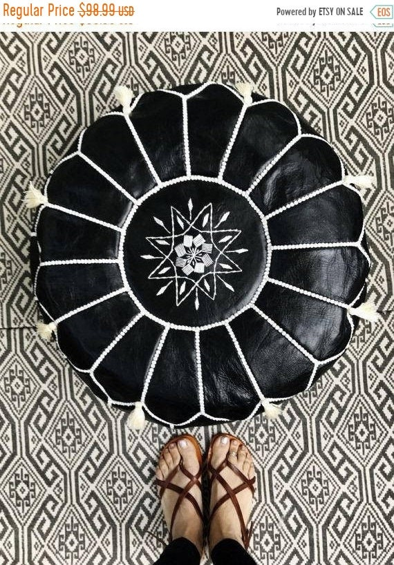 Pouf Sale 30% Off// Black with White Stitching Moroccan Leather Pouf with Tassels & Pompoms >> for Home gifts, wedding gifts,birthday gi
