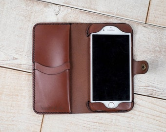 iPhone 8 Plus Leather Wallet Case, brown iPhone 7 plus case, sale clearance, iphone wallet case, real leather