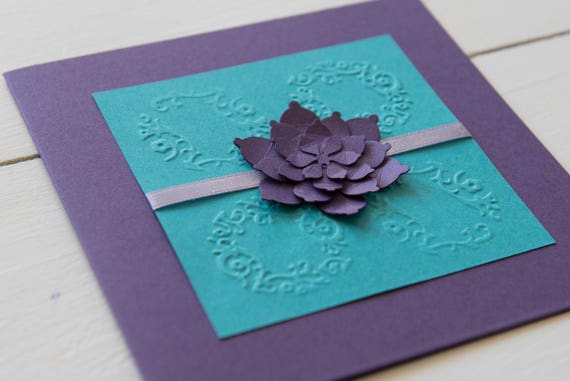 Purple And Teal Wedding Invitations