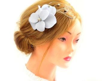 Silver fascinator headband Silver hairpiece Hair flower Silver headpiece Flower girl headband