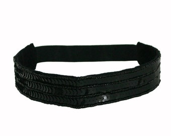 Black Sequin and Seed Beads Headband, Sequin Headband, Seed Beads Headband stechable Elastic Back Headband