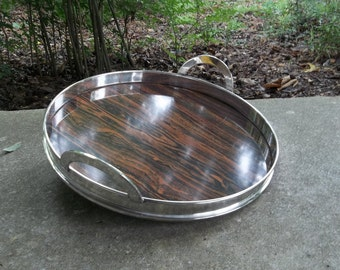 Mid Century Silver Plate Barware Wood Tone Tray with Silver Plate Handles  Serving Tray French Country Wedding Decorations Table Decor