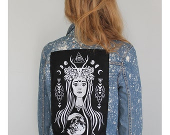 The High Priestess Screen-Printed Back Patch - White on Black