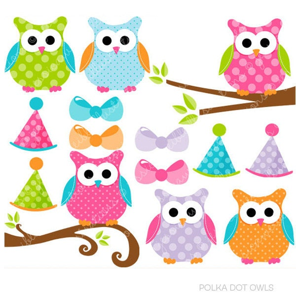 polka dot owls cute digital clipart commercial use clip art rh etsy com commercial clip art for sale centre commercial clipart