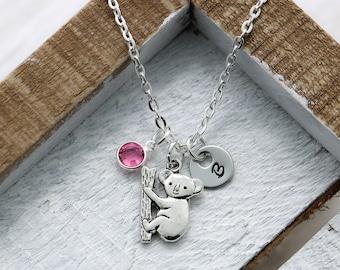 Koala Bear Necklace - Personalized Koala Bear Jewelry Gifts for Kids - Koala Charm Necklace for Women - Koala Themed gifts - Silver Koala