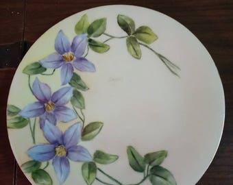 Beautiful Handpainted Vintage Plate TP France Limoge Flowers