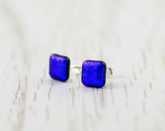 Fused Glass Stud Earrings - Dichroic Glass Earrings - Square Blue Dichroic Glass - Sterling Silver Stud Earrings.  JBT505