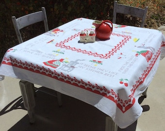 Vintage Tablecloth Sampler Style Kitchen Poems Bucilla Americana Retro Kitchen