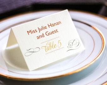 "Orange and Bronze Wedding Table Decor, Reception Placecards, Folded Escort Cards - ""Modern Swirl and Flourish"" Tented Placecard v4 - DEPOSIT"