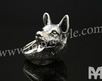Sterling Silver German Shepherd Ring