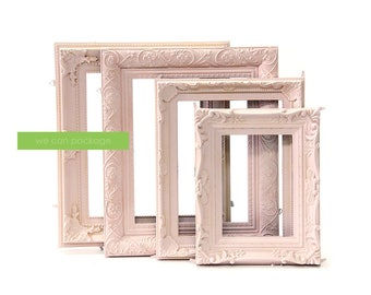 Blush Pink Picture Frames - Set of 4 - Wedding Frames & Shabby Cotton Chic Frames