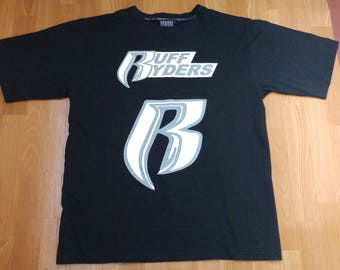 Ruff Ryders jersey, vintage DMX t-shirt 90s hip-hop clothing, black basketball shirt, 1990s hip hop shirt, OG, gangsta rap, size L Large
