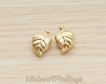 BDS035-MG // Matte Gold Plated Mini Fallen Leaf Metal Bead, 2 Pc