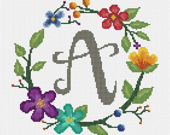 Floral Wreath Monogram letter A Cross Stitch Pattern (PDF File)