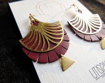 Burgundy Red art nouveau earrings