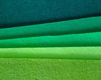 5 pieces of green pure wool felt in different shades, 20x30cm, steiner craft