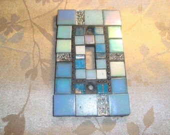 MOSAIC Light Switch Plate -  Single Switch, Wall Plate, Home Decor, Shades of Blue, Turquoise, Silver, White, Black