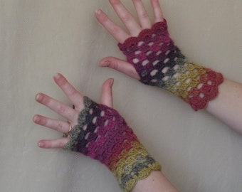 Pink, Purple, Grey and Yellow Wool Stripe Crochet Fingerless Gloves