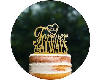 Forever and Always Heart Love Acrylic Cake Topper Custom Cake Topper Wedding Cake Bridal Shower Gift Bridal Shower Valentines Day  (T064)