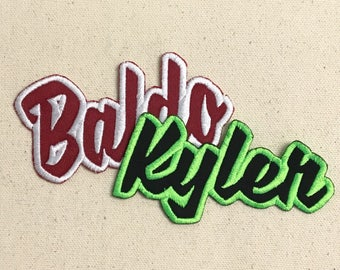 """Custom Names - Color Choice - 4"""" wide - Script Words - Iron on Applique - Embroidered Patch"""