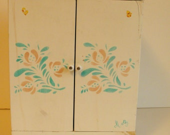 "Doll Clothes Wardrobe Closet Wood Hand-Painted White with Stencils 14"" Tall   (612)"