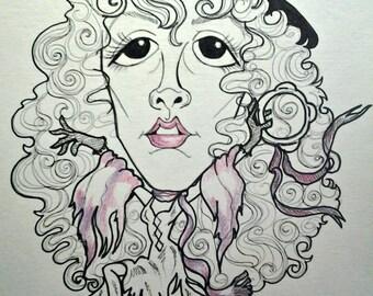 Stevie Nicks Pop Portrait Rock and Roll Caricature Music Art by Leslie Mehl